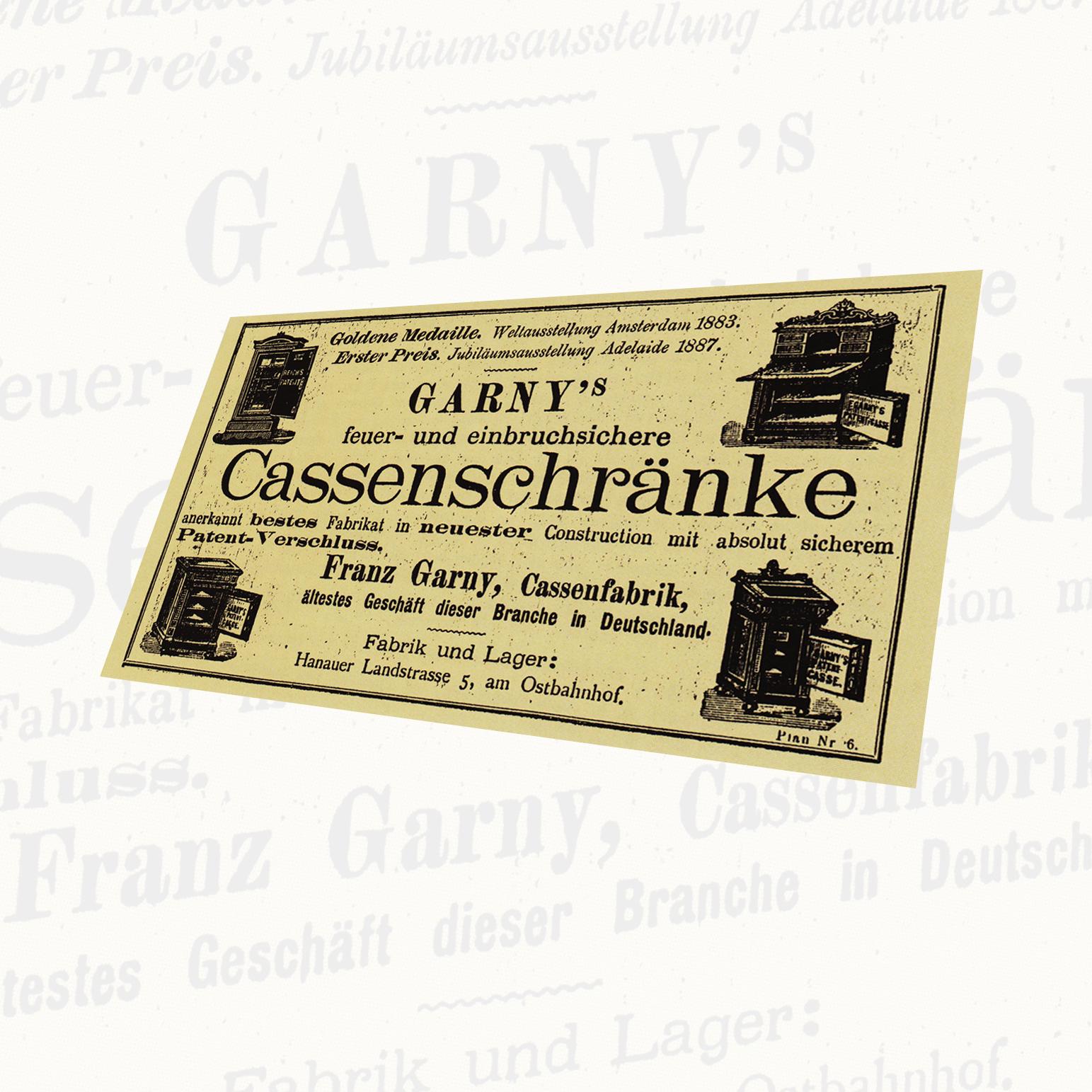 Garny Anzeige um die Jahrhundertwende - Quelle: Ludwig Holtmeier, Truhen Schlösser und Tresore, 1989