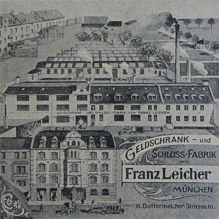 Zeichnung der Geldschrank- und Schloss-Fabrik Franz Leicher - Quelle: Ludwig Holtmeier, Truhen Schlösser und Tresore, 1989