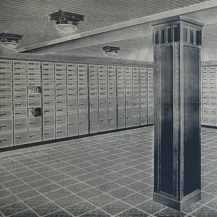 Leicher Safes-Anlage der Bayerischen Vereinsbank München - Quelle: Ludwig Holtmeier, Truhen Schlösser und Tresore, 1989